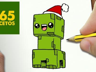 COMO DIBUJAR UN CREEPER PARA NAVIDAD PASO A PASO: Dibujos kawaii navideños - How to draw a CREEPER