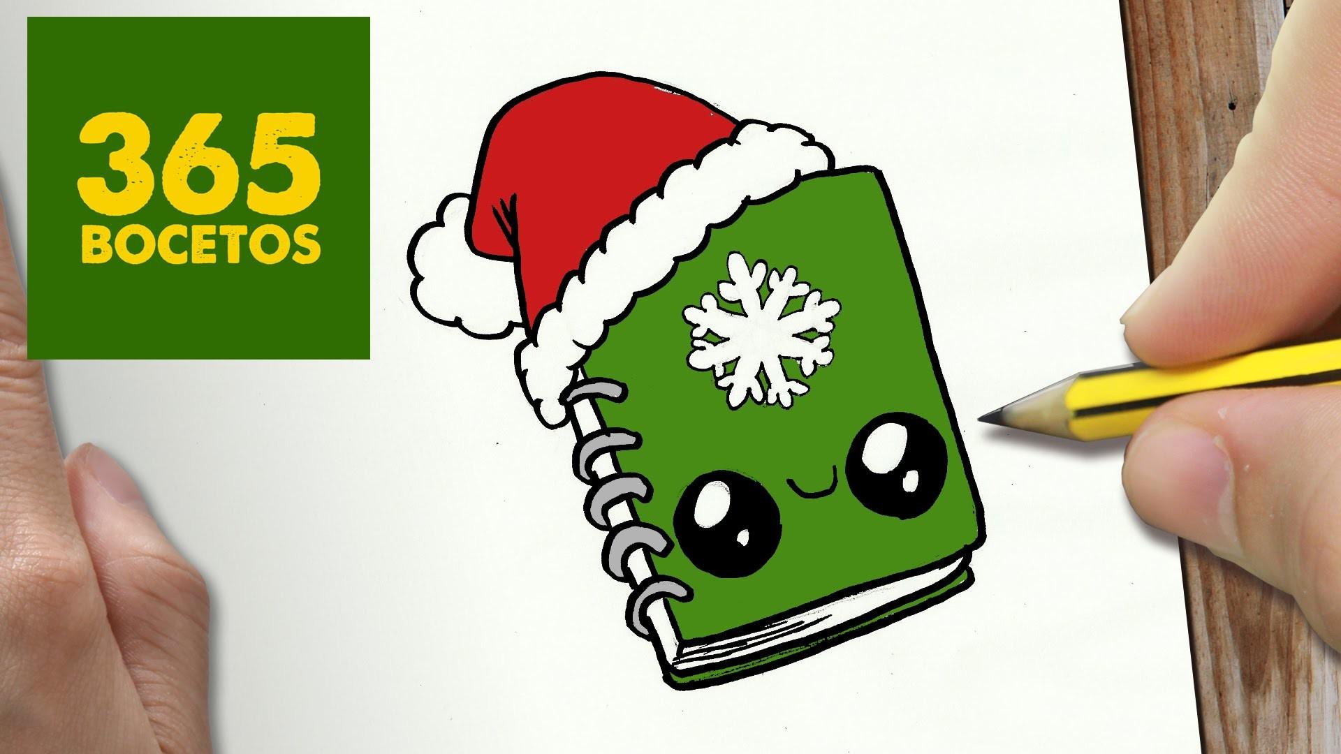 Como Dibujar Un Cuaderno Para Navidad Paso A Paso Dibujos: COMO DIBUJAR UN CUADERNO PARA NAVIDAD PASO A PASO: Dibujos