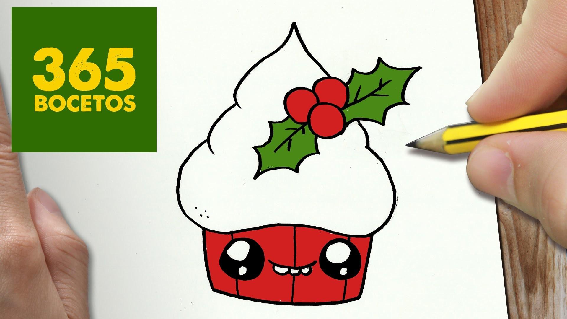 Como dibujar un cupcake para navidad paso a paso dibujos - Motivos navidenos dibujos ...