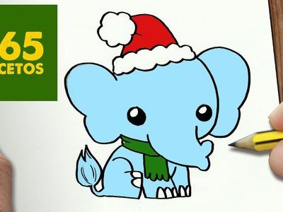 COMO DIBUJAR UN ELEFANTE PARA NAVIDAD PASO A PASO: Dibujos kawaii navideños - How to draw a elephant