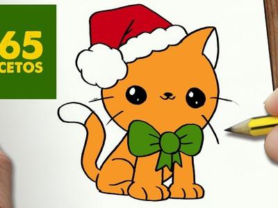 COMO DIBUJAR UN GATO PARA NAVIDAD PASO A PASO: Dibujos kawaii navideños - How to draw a Cat