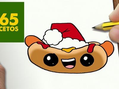 COMO DIBUJAR UN HOTDOG PARA NAVIDAD PASO A PASO: Dibujos kawaii navideños - How to draw a Hotdog