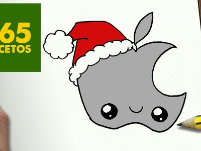 COMO DIBUJAR UN LOGO APPLE PARA NAVIDAD PASO A PASO: Dibujos kawaii navideños - draw a Logo Apple