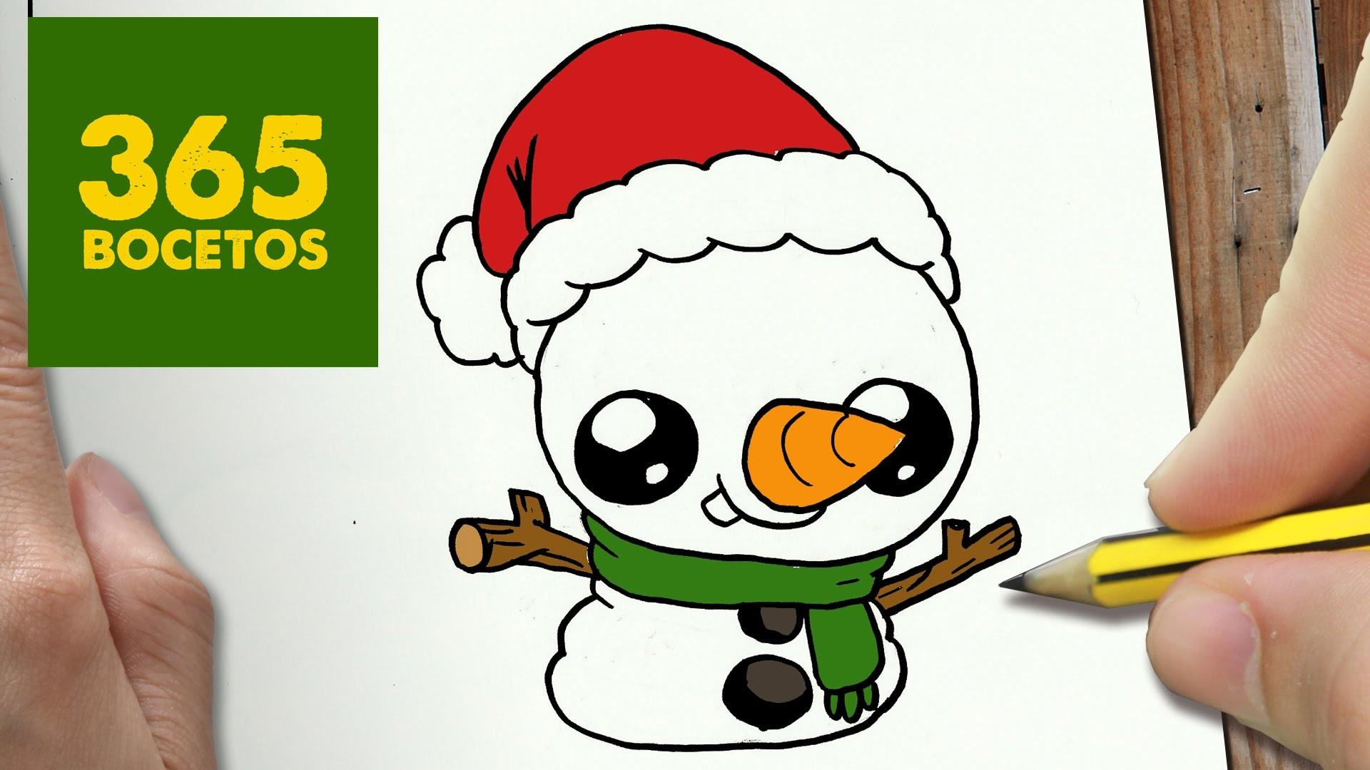 Muñeco De Nieve Dibujo: Como Dibujar Muñeco De Nieve Kawaii Paso A Paso Dibujos