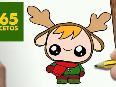 COMO DIBUJAR UN NIÑO RENO PARA NAVIDAD PASO A PASO: Dibujos kawaii navideños - draw a KID