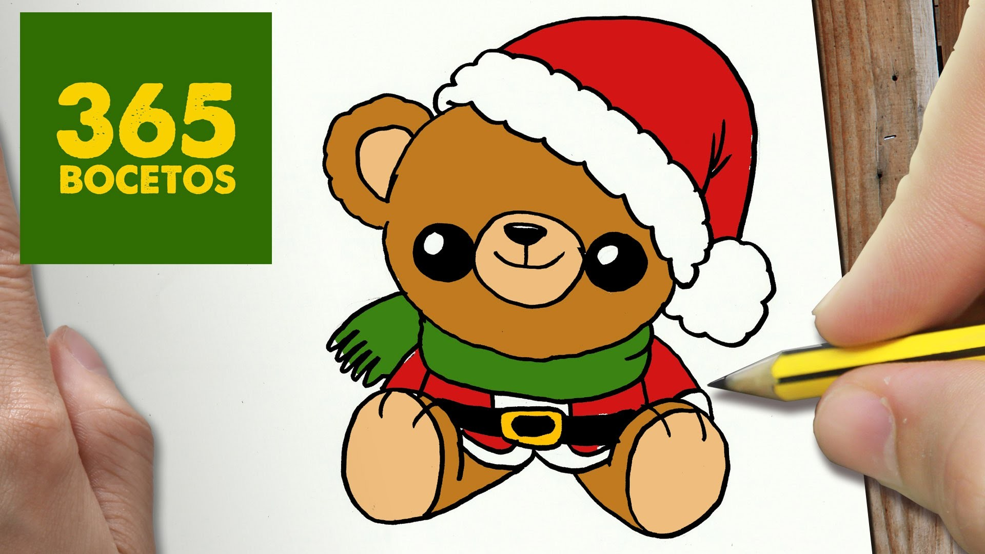 Como dibujar un oso para navidad paso a paso dibujos for Dibujos de navidad pintados