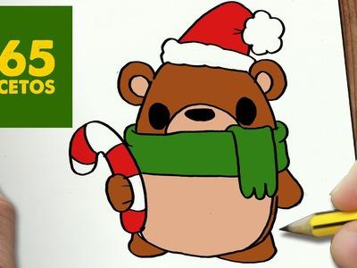 COMO DIBUJAR UN OSO PARA NAVIDAD PASO A PASO: Dibujos kawaii navideños - How to draw a bear