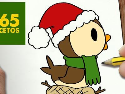 COMO DIBUJAR UN PAJARO PARA NAVIDAD PASO A PASO: Dibujos kawaii navideños - How to draw a Bird