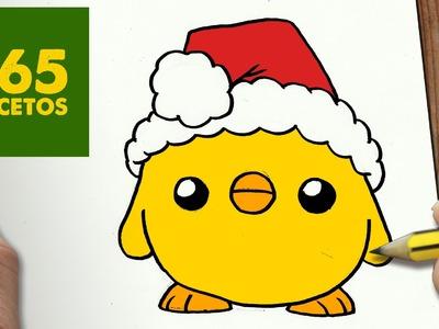 COMO DIBUJAR UN POLLITO PARA NAVIDAD PASO A PASO: Dibujos kawaii navideños - How to draw a Chick