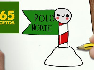 COMO DIBUJAR UN POLO NORTE PARA NAVIDAD PASO A PASO: Dibujos kawaii navideños -  draw a North Pole