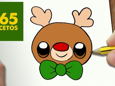 COMO DIBUJAR UN RUDOLF PARA NAVIDAD PASO A PASO: Dibujos kawaii navideños - How to draw a rudolf