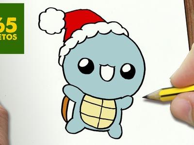 COMO DIBUJAR UN SQUIRTLE PARA NAVIDAD PASO A PASO: Dibujos kawaii navideños - How to draw a SQUIRTLE