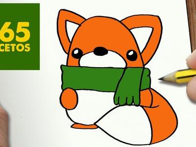 COMO DIBUJAR UN ZORRO PARA NAVIDAD PASO A PASO: Dibujos kawaii navideños - How to draw a fox