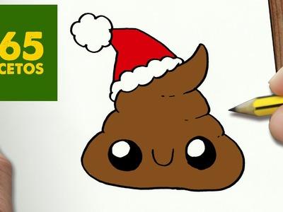 COMO DIBUJAR UNA CACA PARA NAVIDAD PASO A PASO: Dibujos kawaii navideños - How to draw a poop