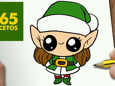 COMO DIBUJAR UNA ELFA PARA NAVIDAD PASO A PASO: Dibujos kawaii navideños - How to draw a Elfa