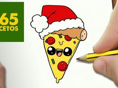COMO DIBUJAR UNA PIZZA PARA NAVIDAD PASO A PASO: Dibujos kawaii navideños - How to draw a Pizza