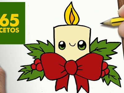 COMO DIBUJAR UNA VELA PARA NAVIDAD PASO A PASO: Dibujos kawaii navideños - How to draw a CANDLE