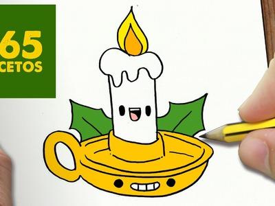 COMO DIBUJAR VELA NAVIDAD KAWAII PASO A PASO - Dibujos kawaii faciles - draw a Christmas candle