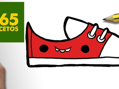 COMO DIBUJAR ZAPATILLAS KAWAII PASO A PASO - Dibujos kawaii faciles - How to draw a SNEAKERS