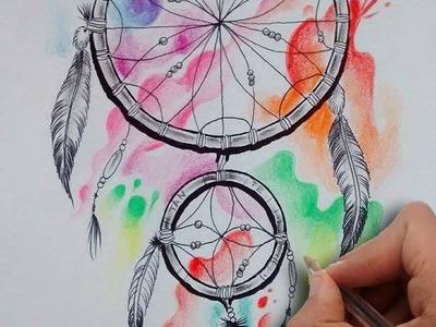Diseño Atrapasueños Acuarela. Acuarelle Dreamcatcher Tattoo Design- Nosfe Ink Tattoo