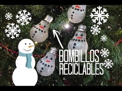DIY - BOMBILLOS DE MUÑECOS DE NIEVE - Facíl (RECICLABLE) - CPR