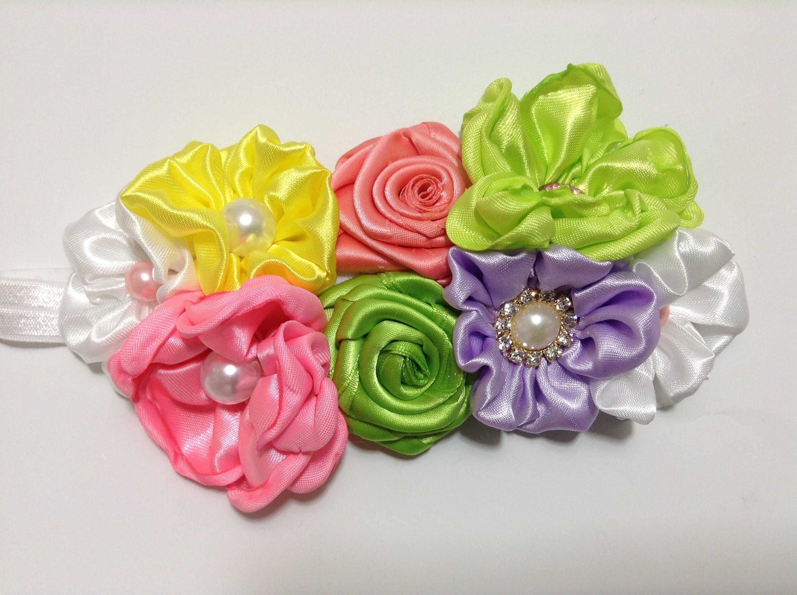 Tiara de flores de tela de razo (satin) VIDEO No. 293