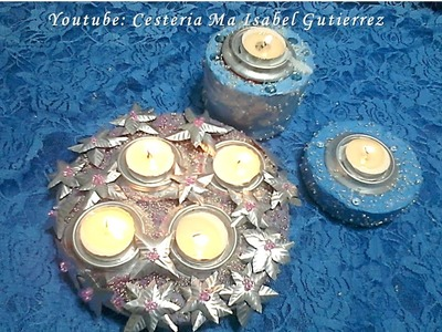 Como hacer Candeleros o porta velas con yeso. DIY. How to make candles with plaster