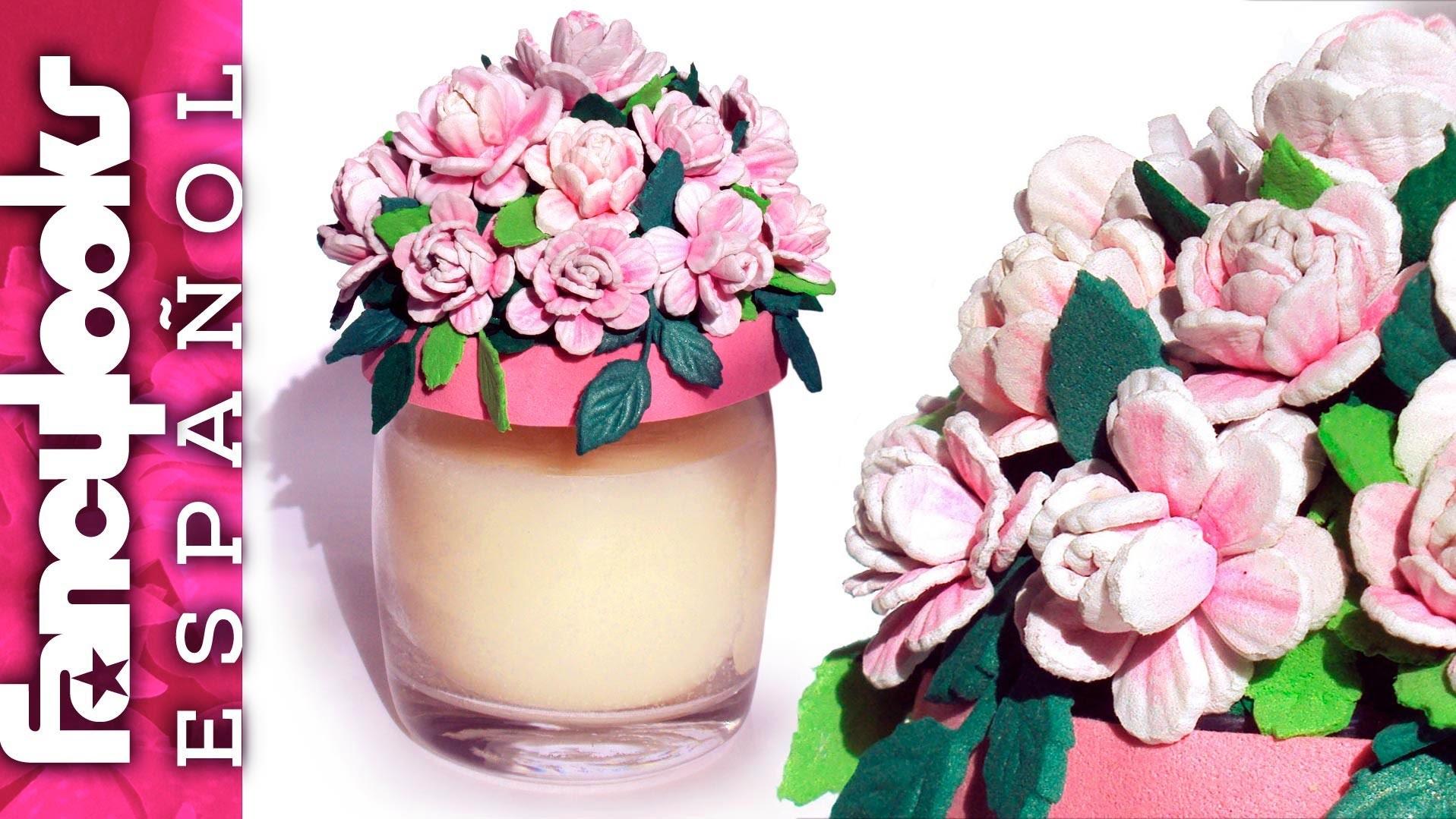 C mo hacer rositas de goma eva para decorar tapa de tarro for Botes de cocina decorados con goma eva
