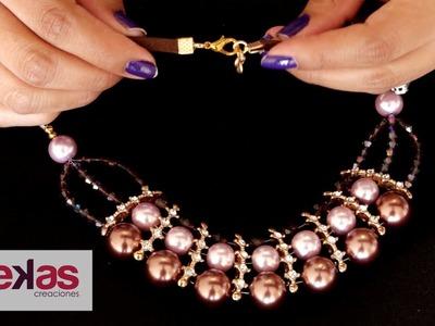 Como hacer un Collar Perlas y Strass Princesa: Pekas Creaciones