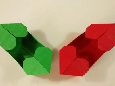 Como hacer una caja de papel con dos corazones -  Origami para san Valentin
