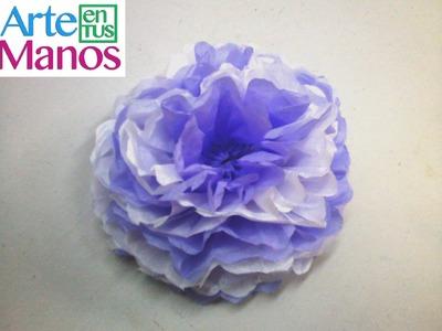 Flores hechas en Papel Seda (papelillo) Paso a paso - Silk flowers made Paper