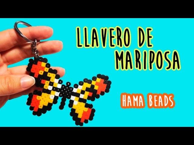 ♥ LLAVERO DE MARIPOSA ♥ con Hama beads (Perler beads)