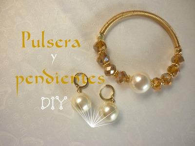 Manualidades: BISUTERIA (Pulsera y Pendientes) DIY -  JEWELLERY ( bracelet and earrings )