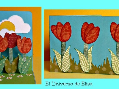 Tarjeta Pop Up Tulipanes, Tarjeta para el Día de la Madre, Regalos para el Día de la Madre