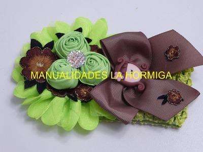 Tiaras boton rosas cinta, Pap balacas decoradas bebe, Lazos con flores de aplicacion