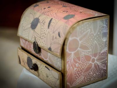 Cofre. alhajero. organizador. porta. mueble de cartón reciclado fácil