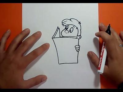 Como dibujar a un niño leyendo paso a paso | How to draw a child reading