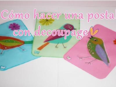 Cómo hacer una postal con decoupage | Laila color