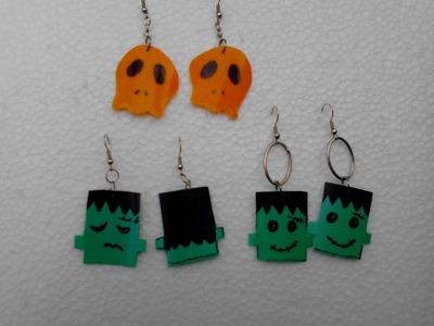 Faciles de hacer estos aretes de Halloween reciclaje