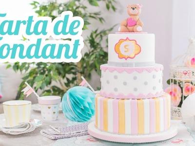 Tarta de fondant | #13 Mesa dulce para Baby Shower | Quiero Cupcakes!