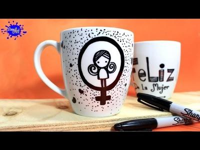Como decorar tazas fácil y rápido. How to decorate cups. Manualidades Fáciles