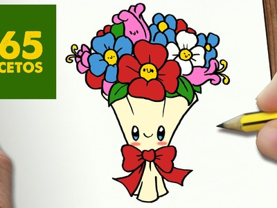 COMO DIBUJAR RAMO DE FLORES KAWAII PASO A PASO - Dibujos kawaii faciles - How to draw a bouquet