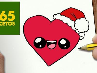 COMO DIBUJAR UN CORAZON PARA NAVIDAD PASO A PASO: Dibujos kawaii navideños - How to draw a Heart