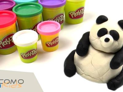 Cómo hacer un oso panda con plastilina