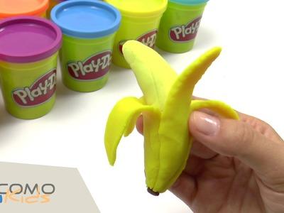 Como hacer un platano con plastilina Play Doh