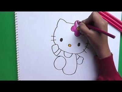 Dibujando y pintando a Hello Kitty - Drawing and painting to Hello Kitty