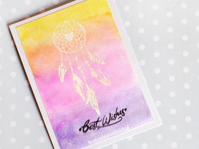 DIY : Tarjeta atrapasueños con acuarelas - Brotes de Creatividad
