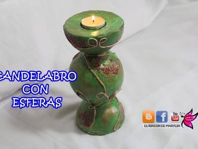 Candelabro hecho con esferas -  Chandelier made with spheres