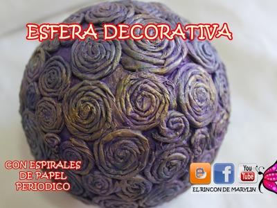 Esfera decorativa con espirales de periodico -  Decorative spheres with  newspaper  spirals