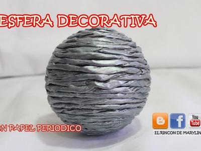ESFERA DECORATIVA CON PAPEL PERIODICO ENRROLLADO -  Decorative sphere with newsprint funky